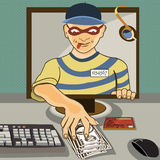 Computer thief. Vector illustration of a man from a computer monitor stealing money   - computer thief serial Royalty Free Stock Photo
