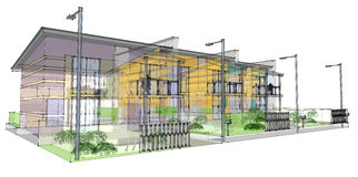 Sketch of residential development vector illustration