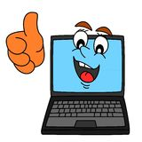 Computer with thumbs-up - Illustration Royalty Free Stock Photo