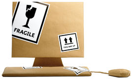 Computer, toetsenbord en muis verpakte weg Royalty-vrije Stock Foto