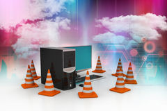 Computer with traffic sign Royalty Free Stock Images