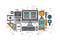 Computer training line style illustration Royalty Free Stock Photos