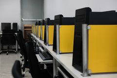 Computer training room. lab classroom in college. Computer training room in university. lab classroom in college royalty free stock photo
