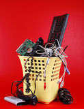 Computer trash. Computer waste filled in recycle bin Royalty Free Stock Photos