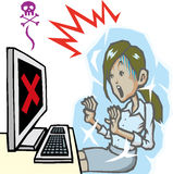 Computer trouble. The computer problems caused by a virus or hard of failure in the work Stock Images
