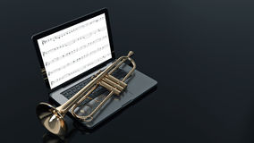 Computer with trumpet Stock Photography