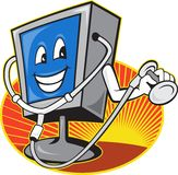 Computer TV Monitor With Doctor Stethoscope Royalty Free Stock Photography