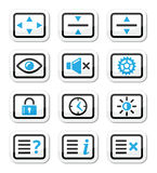 Computer tv monitor screen  icons set Royalty Free Stock Image
