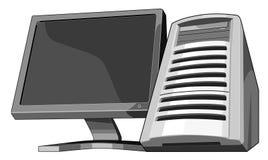 Computer und Überwachungsgerät wormview stock abbildung
