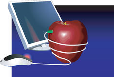 Computer und Apfel Lizenzfreie Stockfotos