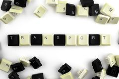 Computer und Computertechnologien auf Industrien und den Gebieten der menschlicher Aktivit?t - Konzept transport Auf einem wei?en stockfoto