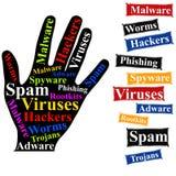 Computer und Netz-Sicherheits-Hand Lizenzfreie Stockfotografie