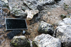 The computer under the surface of the water. stock photo