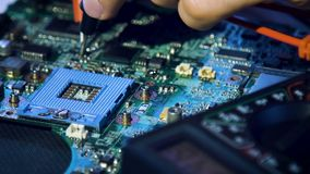 Computer upgrade motherboard technology tools. Computer upgrade. tools equipment and instruments concept. engineer testing electric current in the motherboard stock footage