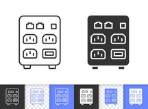Computer Ups simple black line vector icon. Ups black linear and silhouette icons. Thin line sign uninterruptible power supply. Box outline pictogram isolated on stock illustration