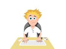 Computer User. Tired boy sitting at the computer at night Royalty Free Stock Photo