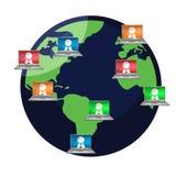 Computer user Around the world illustration Stock Image