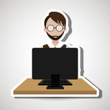 Computer user design. Illustration eps10 graphic Royalty Free Stock Photography