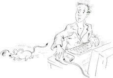 Computer user looking at mouse running away. Comic illustration Stock Photo