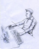 Computer user - sketch. Man using computer. Man has stylish hair and wears casual clothes. He appears to be a freelancer who works at home. Pencil drawing Stock Image