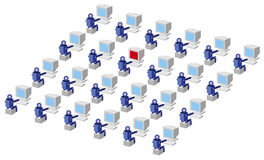 Computer Users. Illustration of Computer network users at computers Royalty Free Stock Image