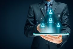 VPN concept. Computer users connected via virtual private network. Private network security concept stock photo