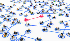 Computer Users, Linked Pairs. Small symbolic 3d figures behind office desks joined in pairs Royalty Free Stock Image