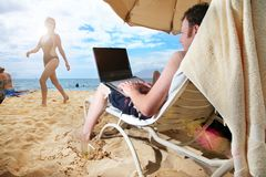 Computer vacation Royalty Free Stock Image