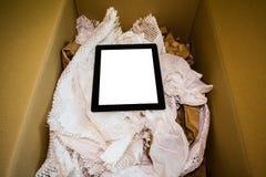 Computer van de Unboxings de nieuwe tablet Stock Afbeelding