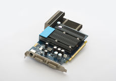 Computer video card. On a white surface Royalty Free Stock Image