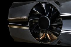 Computer Video card with fan close up. Video card fan close up on a black background with path included stock images