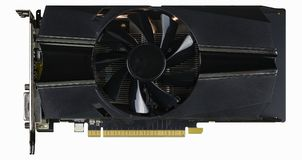 Computer Video card with fan and connectors. Video card with connectors on a white background with path included stock images