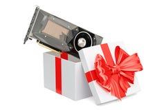 Computer video card GPU inside gift box, gift concept. 3D render. Computer video card GPU inside gift box, gift concept Royalty Free Stock Photo