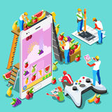 Computer Video Game People Gaming Isometric Vector Illustration. Video game UX development. Web gamer person gaming online with console controller android phone Stock Photo