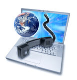 Computer Video Phone Teleconference. A laptop computer with the earth and a phone coming out of the screen isolated on white Stock Image