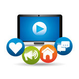 Computer video play network media icons Royalty Free Stock Images