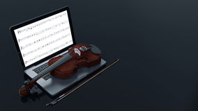 Computer with Violin Stock Photo
