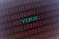 Computer virus. Conceptual illustration of computer virus hidden in binary numbers Stock Photos