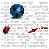 Computer virus. Abstract colorful illustration with computer mouse leading to a blue globe and a red cursor pointing the highlighted word virus. Computer virus Stock Photos