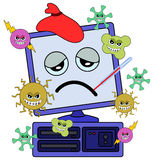 Computer with virus. Cartoon illustration of a computer being attacked by viruses Royalty Free Stock Photos