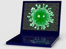Computer virus attack. Computer program that can replicate itself and spread from one computer to another Royalty Free Stock Photo
