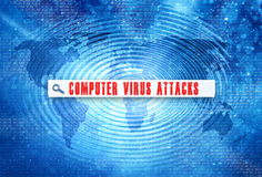 Computer virus attack words search bar background Stock Photography