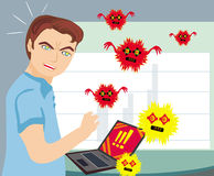 Computer virus attacking laptop Stock Photos