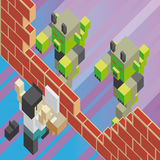 Computer virus breaking a firewall. Concept of a computer virus breaking a firewall and attacking a worker, in isometric old video game style. The grunge texture Stock Images