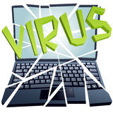 Computer virus breaks security to crash Laptop Royalty Free Stock Image