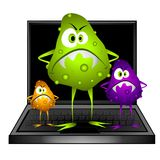 Computer Virus Bugs Clip Art. A bunch of nasty computer bugs and viruses have invaded this laptop. Ideal for any sort of computer bug problems such as viruses Stock Images