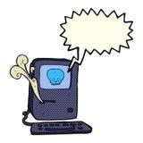 Computer virus cartoon  with speech bubble Royalty Free Stock Image