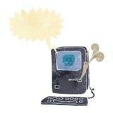 Computer virus cartoon  with speech bubble Stock Photo