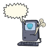 Computer virus cartoon  with speech bubble Royalty Free Stock Images