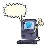 Computer virus cartoon  with speech bubble Stock Images